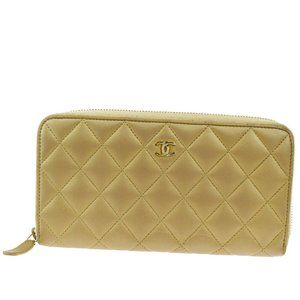 CHANEL Quilted Long Zipper Wallet Purse Leather Br